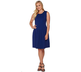 Shape  FX Ponte Knit Pleated Dress with Removable Power Mesh Slip - A272115