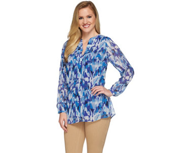 Liz Claiborne New York Printed Tunic with Pleats - A272815