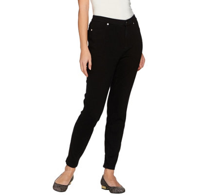 Isaac Mizrahi Live! Petite Knit Denim Ankle Pants w/ Zipper Detail