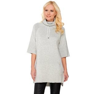 Isaac Mizrahi Live! SOHO Funnel Neck Sweater Tunic w/ Rib Detail - A273215