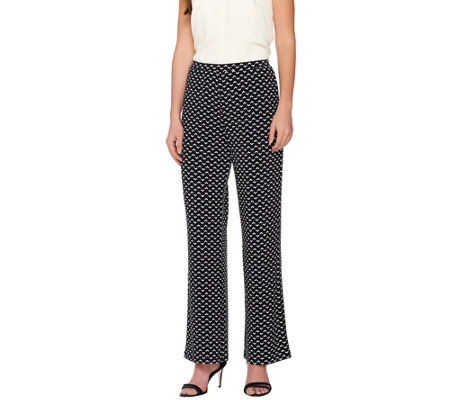 Susan Graver Printed Liquid Knit Comfort Waist Pull-On Wide Leg Pants