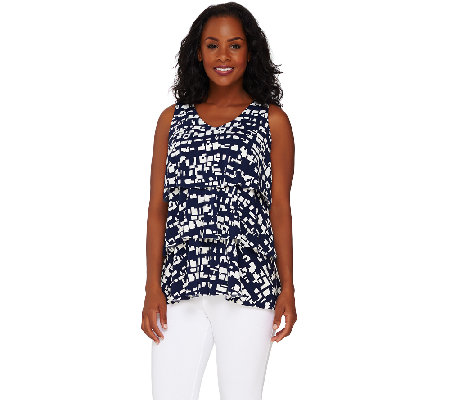 """As Is"" Susan Graver Printed Liquid Knit Sleeveless V-Neck Top"