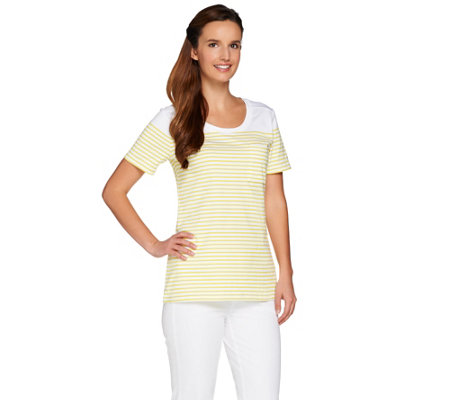C. Wonder Short Sleeve Striped Knit T-Shirt with Pocket