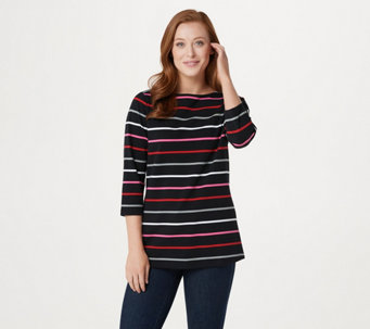 Denim & Co. Yarn Dyed Stripe 3/4 Sleeve Boat Neck Top - A277615