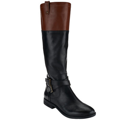 """As Is"" Marc Fisher Wide Calf Leather Riding Boots - Audrey"