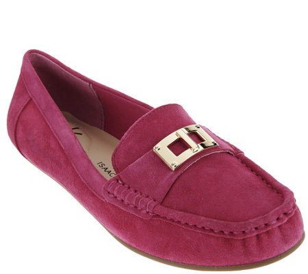 """As Is"" Isaac Mizrahi Live! Suede Moccasin with Lock Hardware"