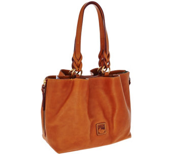 """As Is"" Dooney & Bourke Florentine Leather Large Zip Satchel - A278915"