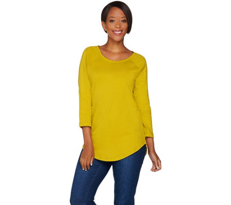 Isaac Mizrahi Live! Essentials 3/4 Sleeve Curved Hem Tunic