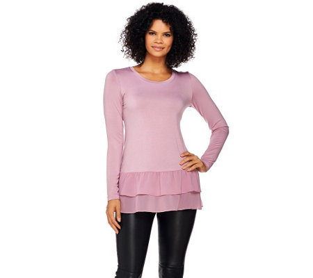 """As Is"" LOGO by Lori Goldstein Knit Top with Tiered Ruffle Chiffon Hem"