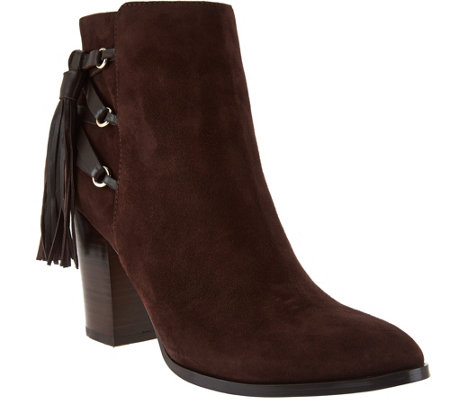 Marc Fisher Suede Fringe Ankle Boots - Kava