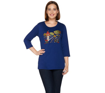 Quacker Factory Fall Scenes Embroidered 3/4 Sleeve T-shirt - A280815