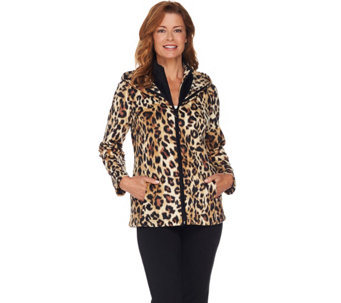 Susan Graver Weekend Printed Polar Fleece Zip Front Jacket - A282115