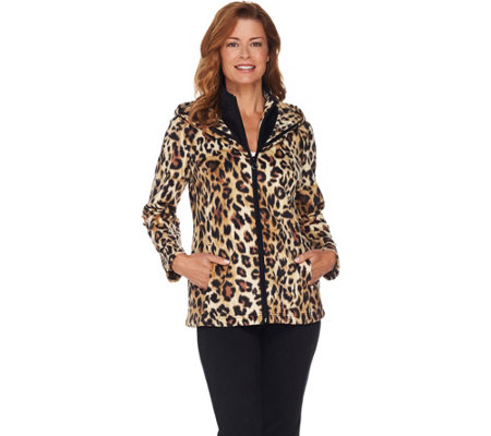Susan Graver Weekend Printed Polar Fleece Zip Front Jacket