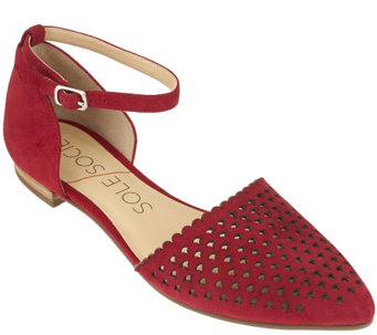 """As Is"" Sole Society Two- Piece Perforated Suede Flats - A283515"
