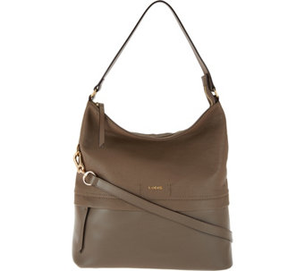 LODIS Smooth & Pebble Italian Leather Hobo with RFID - Sunny - A283615