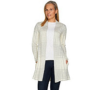 H by Halston Textured Pattern Open Front Sweater Coat - A284115