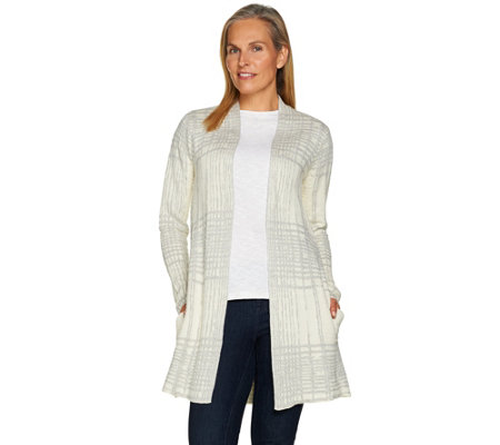 H by Halston Textured Pattern Open Front Sweater Coat