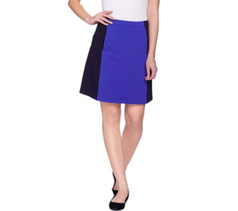 """As Is"" Susan Graver Weekend French Terry Color Block Skort - A284815"