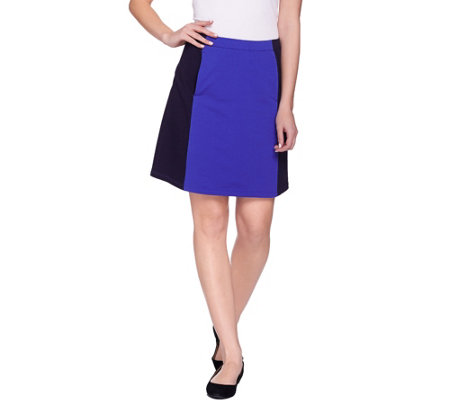 """As Is"" Susan Graver Weekend French Terry Color Block Skort"