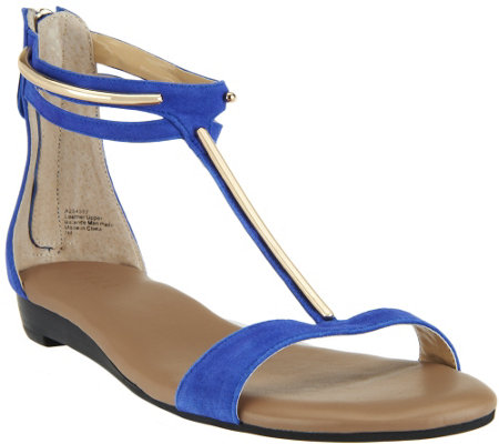 """As Is"" G.I.L.I Leather T-strap Sandals with Hardware Detail - Kerri"