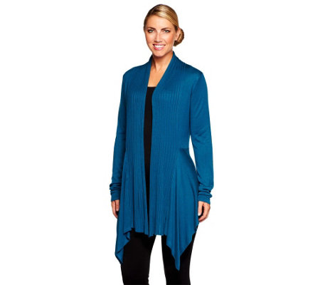 """As Is"" Attitudes by Renee Drape Front Cardigan w/ Rib Detail"