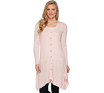 H by Halston Button Front Rib Cardigan w/ Handkerchief Hem - A286215