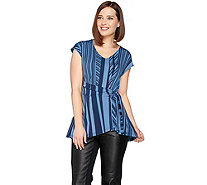 H by Halston Jet Set Jersey Printed Wrap Front Top - A287115