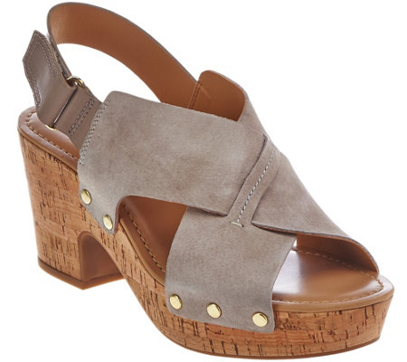 """As Is"" Franco Sarto Suede Platform Adj. Backstrap Cork Sandals_- Kicks"