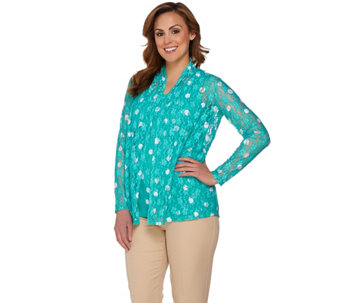 """As Is"" Susan Graver Polka Dot Stretch Lace Cardigan Set - A287315"