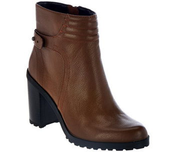 """As Is"" H by Halston Leather Ankle Boots with Block Heel - Cara - A290015"