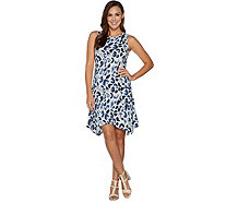 LOGO by Lori Goldstein Cotton Modal Printed Dress w/ Pockets - A290515