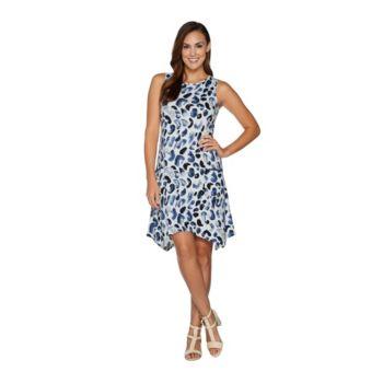 LOGO by Lori Goldstein Cotton Modal Printed Dress w/ Pockets