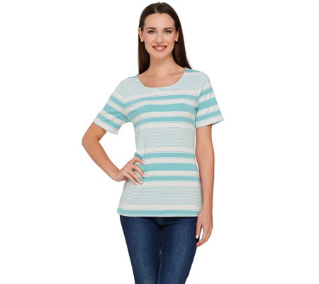 """As Is"" Liz Claiborne New York Short Sleeve Striped Top"