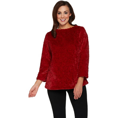 """As Is"" Dennis Basso Sterling Collection Rose Faux Fur Pullover"