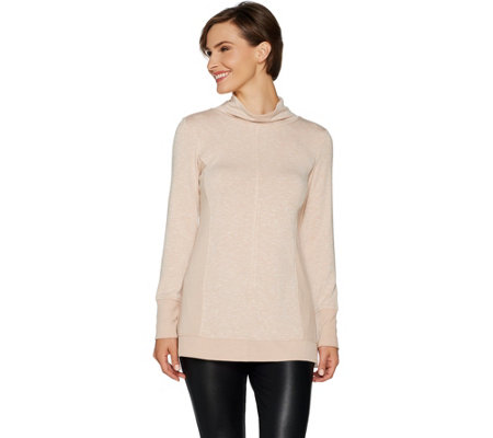 H by Halston Funnel Neck Long Sleeve Pullover with Rib Detail