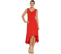 H by Halston Regular Jet Set Jersey V-Neck Hi-Low Dress - A306915