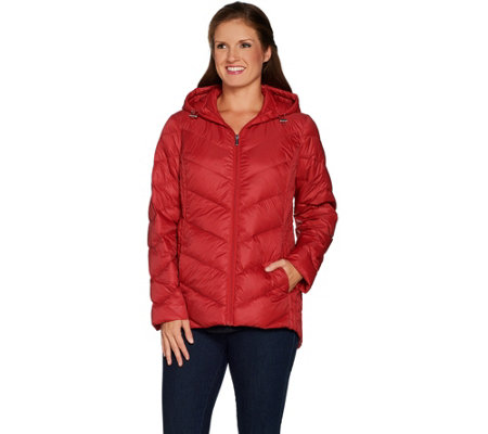 """As Is"" Susan Graver Quilted Packable Down Jacket with Hood"
