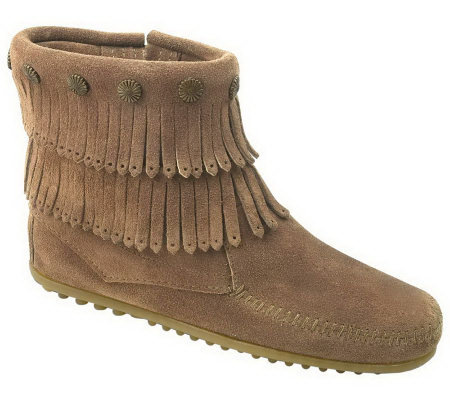 Minnetonka Women's Double Fringe Side-Zip Boots