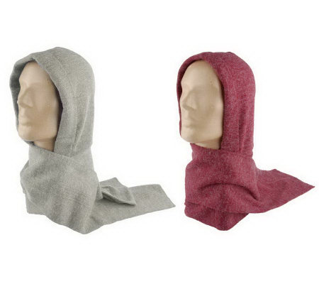 35 Degrees Below Set of 2 Fine Gauge Hooded Scarves