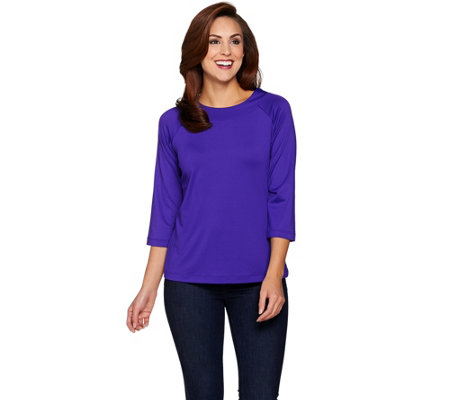 Susan Graver Essentials Butterknit Bateau Neck 3/4 Sleeve Top