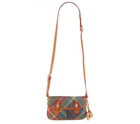 Dooney & Bourke Coated Cotton Plaid Messenger Crossbody Bag