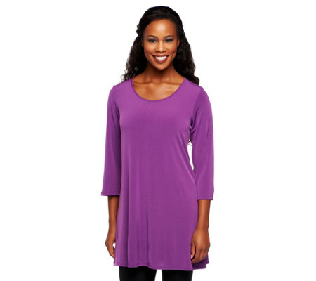 Susan Graver Essentials Liquid Knit 3/4 Sleeve Tunic