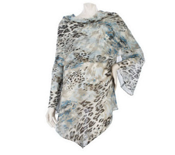 George Simonton Asymmetrical Drape Neck Printed Blouse w/Bell Sleeves - A216616