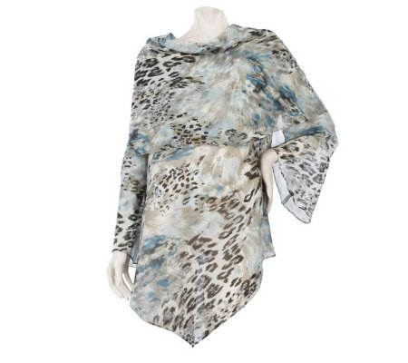 George Simonton Asymmetrical Drape Neck Printed Blouse w/Bell Sleeves