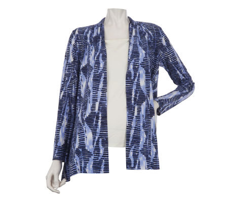 Linea by Louis Dell'Olio Printed Open Front Cardigan