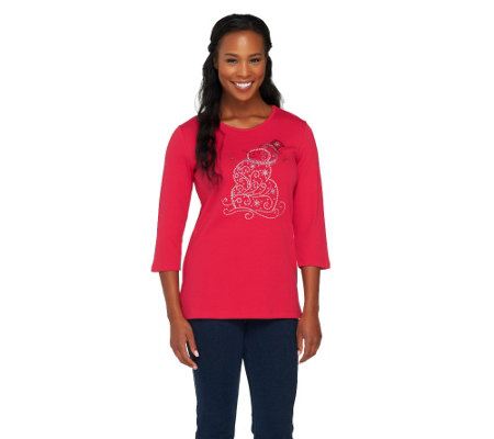 Quacker Factory Rhinestone Swirly Snowman 3/4 Sleeve T-shirt
