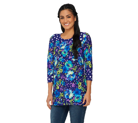 Susan Graver Printed Liquid Knit Scoop Neck Tunic with 3/4 Sleeves