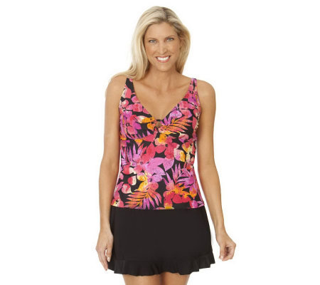 Ocean Dream Signature Tropical Fiesta Ring Tankini w/ Ruffle Skirtini