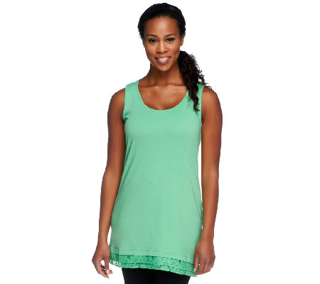 LOGO by Lori Goldstein Knit Tank Top with Lace Trim
