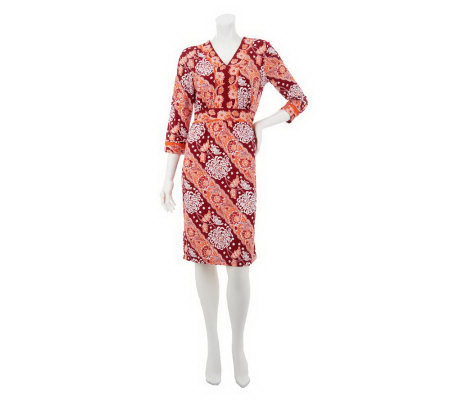Linea by Louis Dell'Olio Floral Print 3/4 Sleeve V-neck Dress